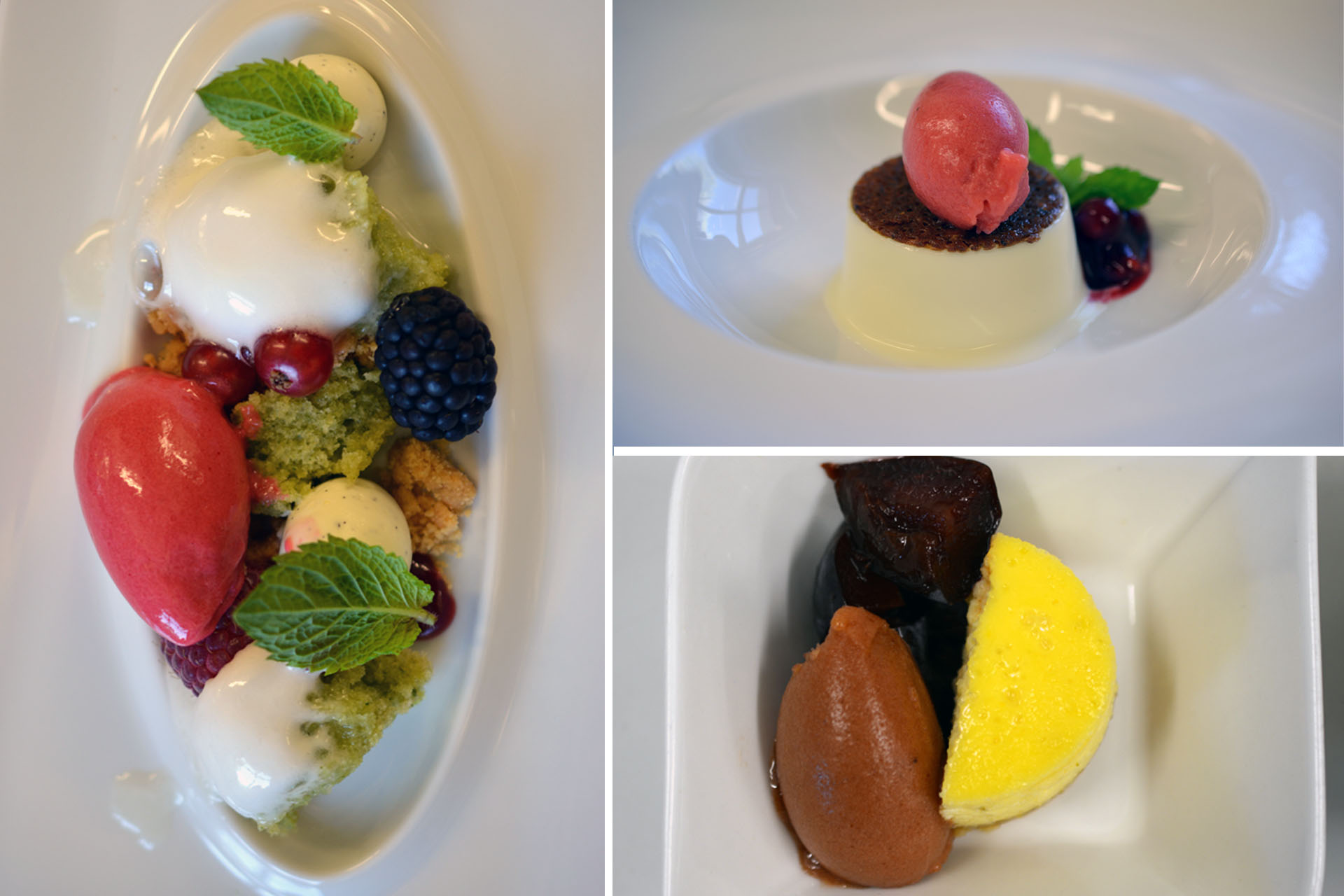 Sommergarten, Panna Cotta mit Erbeer-Sorbet, Cheese-Cake mit Zwetschkensorbet