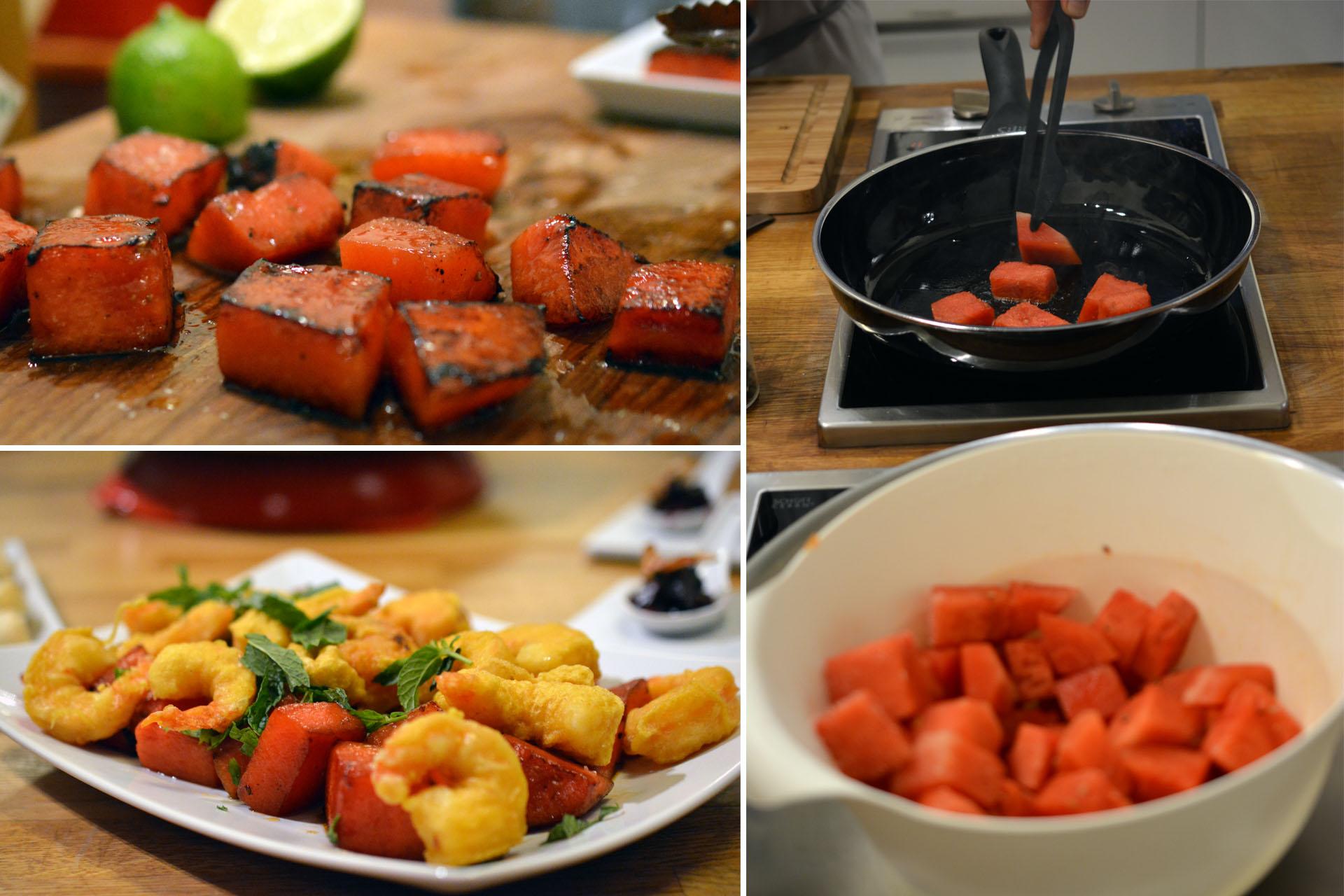 Gegrillte Wassermelone mit Garnele und Minze