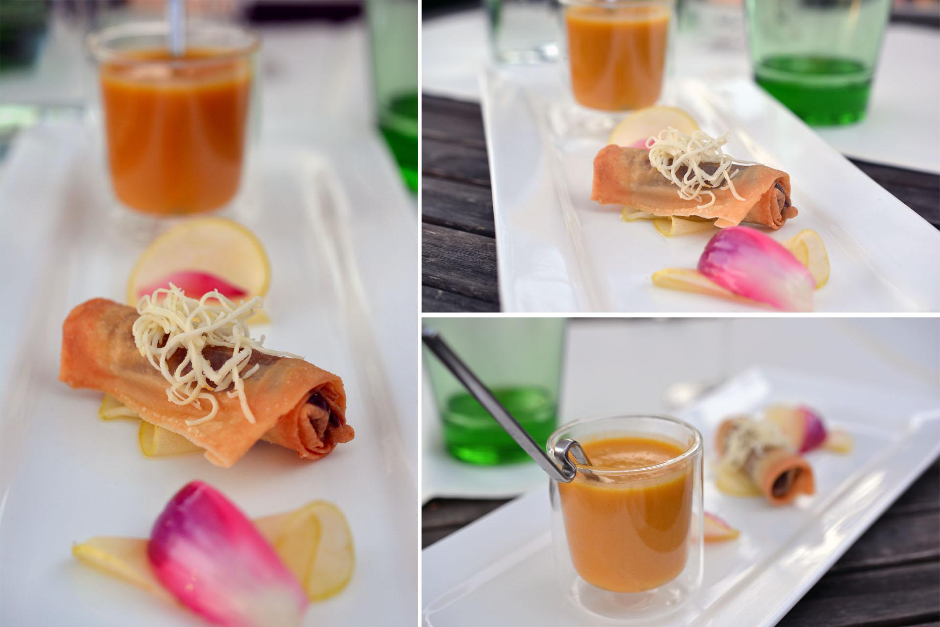 Kürbis-Apfelsuppe mit Blunz'n-Frühlingsrolle
