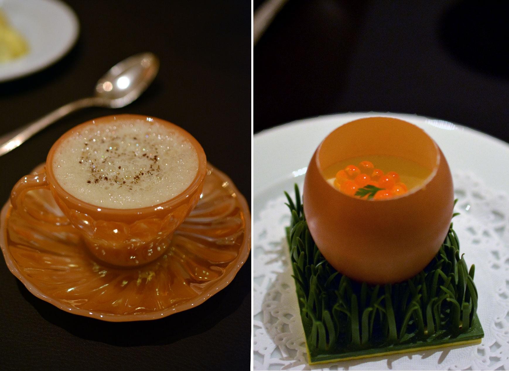 Geeistes Trüffel-Rührei mit Forellenkaviar - Apfel-Spargel-Suppe