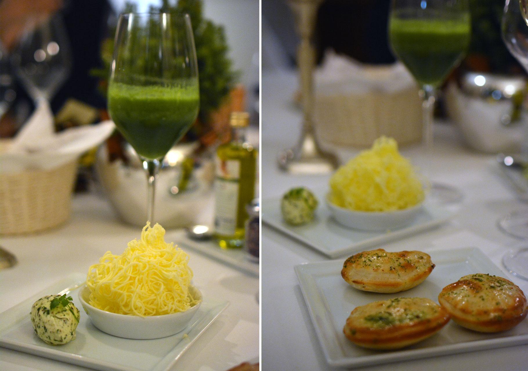 Fladenbrot mit Buchweizen, Butter, Mangold-Ingwer Vitaldrink