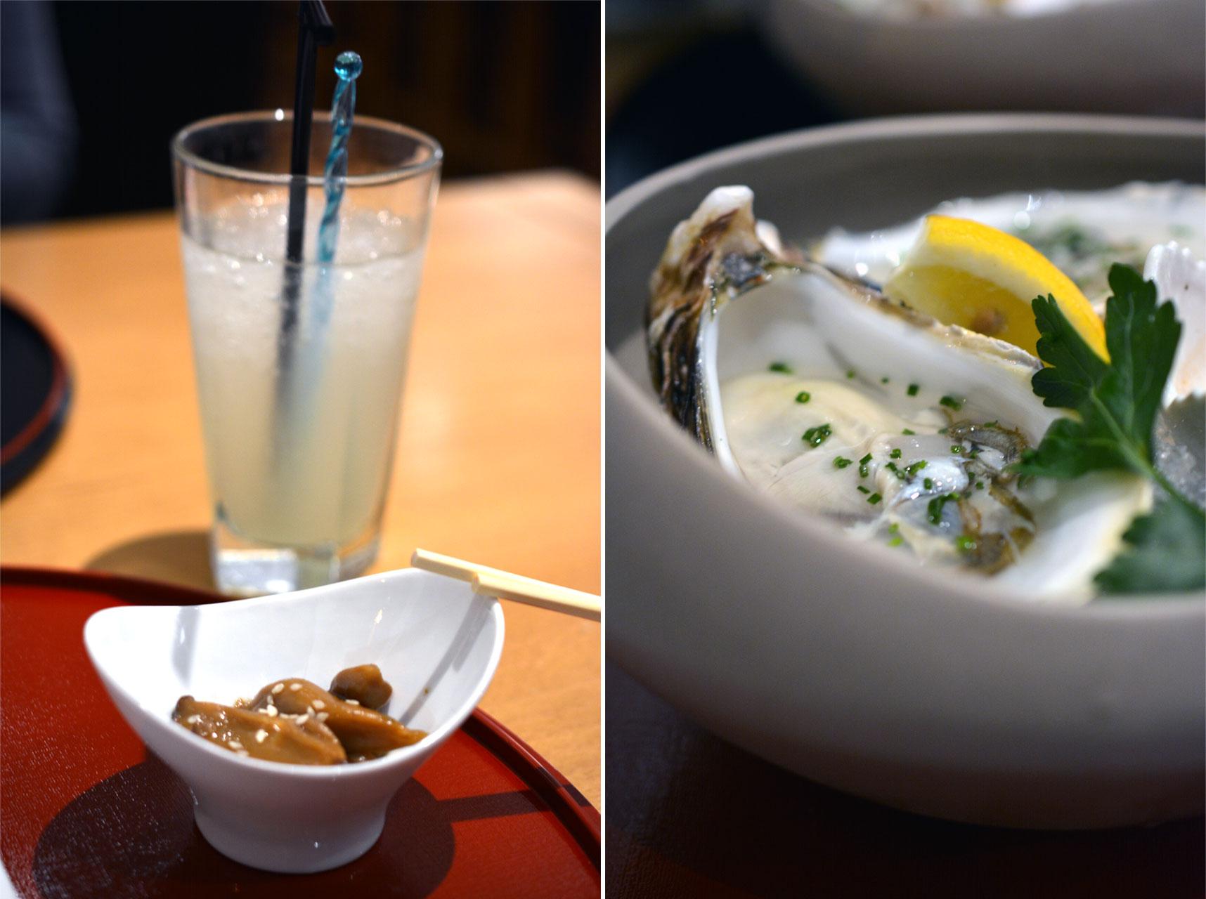 Gekochte Pilze mit Sesam, Yuzo Sour, Austern