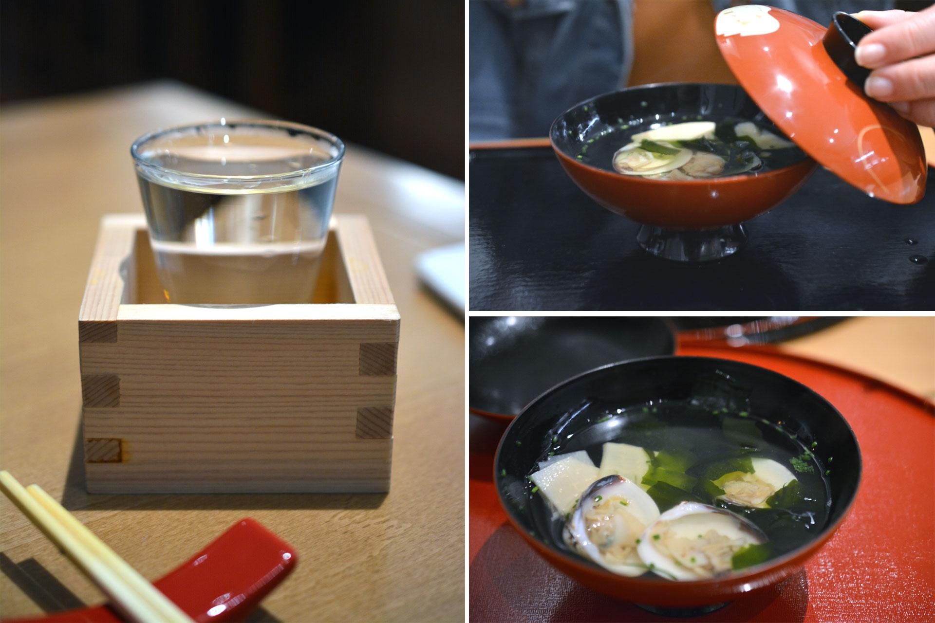 Reissuppe mit Muscheln und Bambus, Sakai