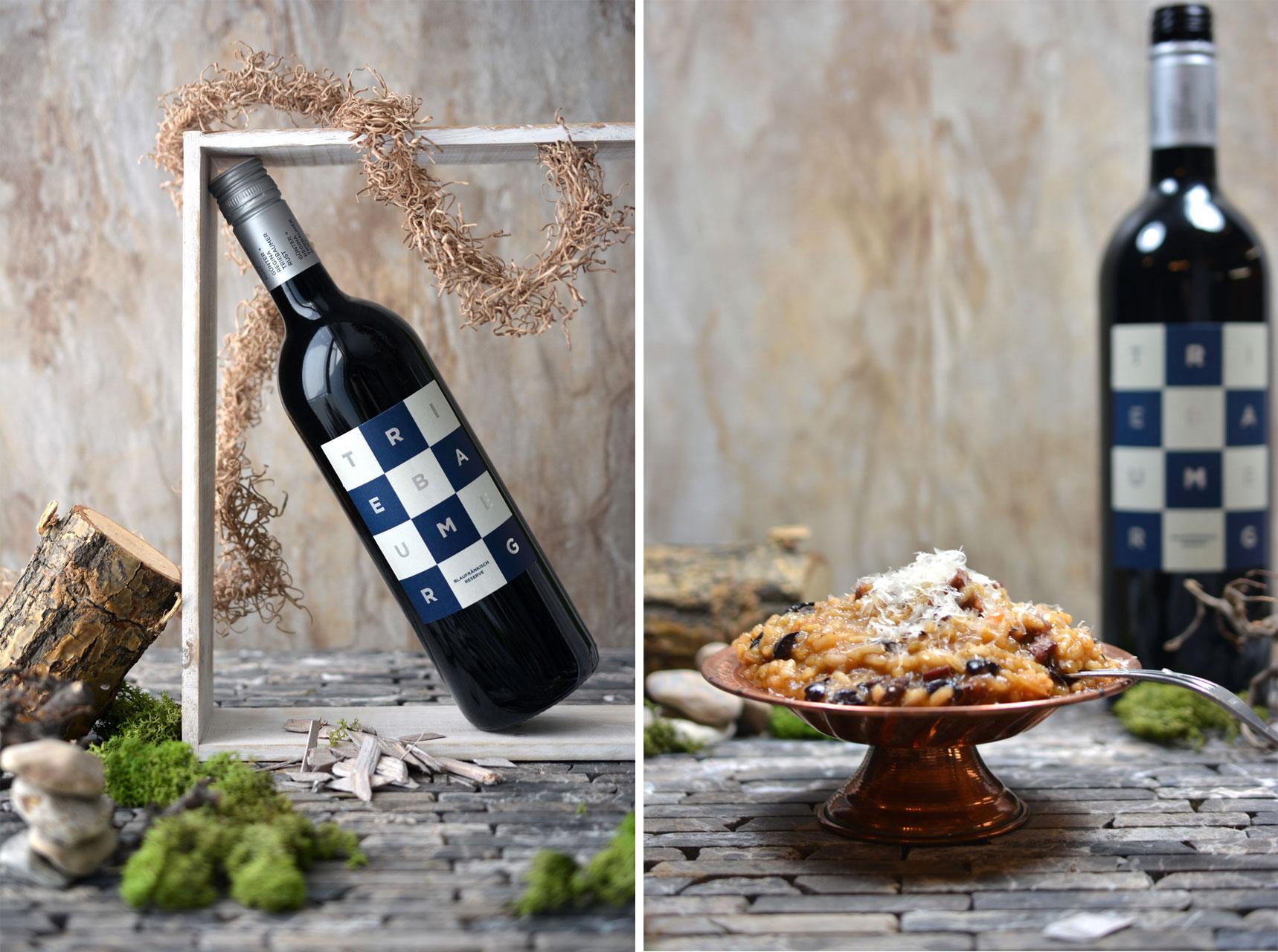 Blaufränkisch Reserve 2011, Tomatenrisotto mit schwarzen Oliven und Chorizo