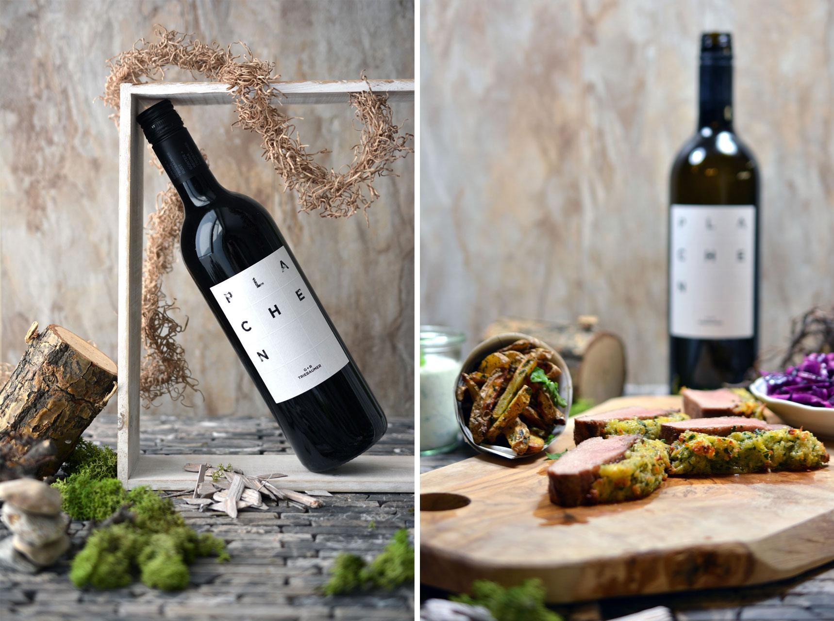 Blaufränkisch Plachen 2011, Wildschweinrücken mit Koriander-Pommes und Rotkraut-Salat
