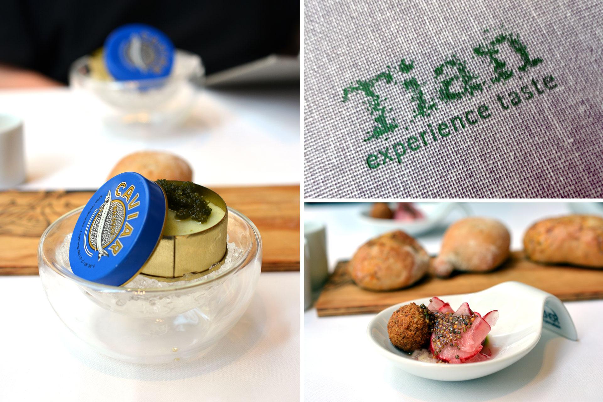 Tian (Radieschen, Reisbällchen, Gurkenmousse, Vegetarischer Kaviar)