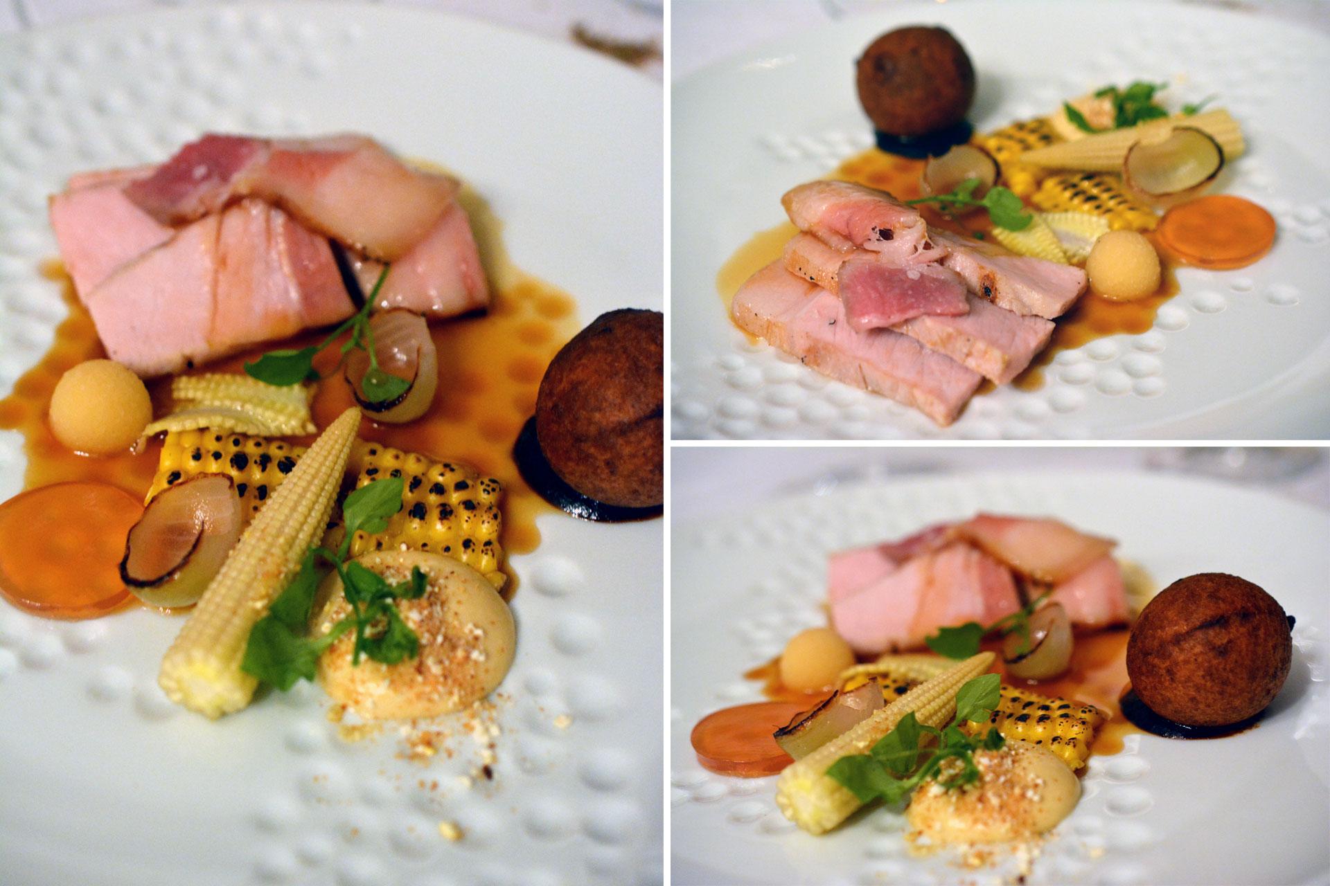 """Kotelett vom """"Johann""""-Freilandschwein (8 Wochen gereift): Mais / Zwiebel / Curry / eingelegte Quitte / Sesamschaum / Schweinsknöderl"""