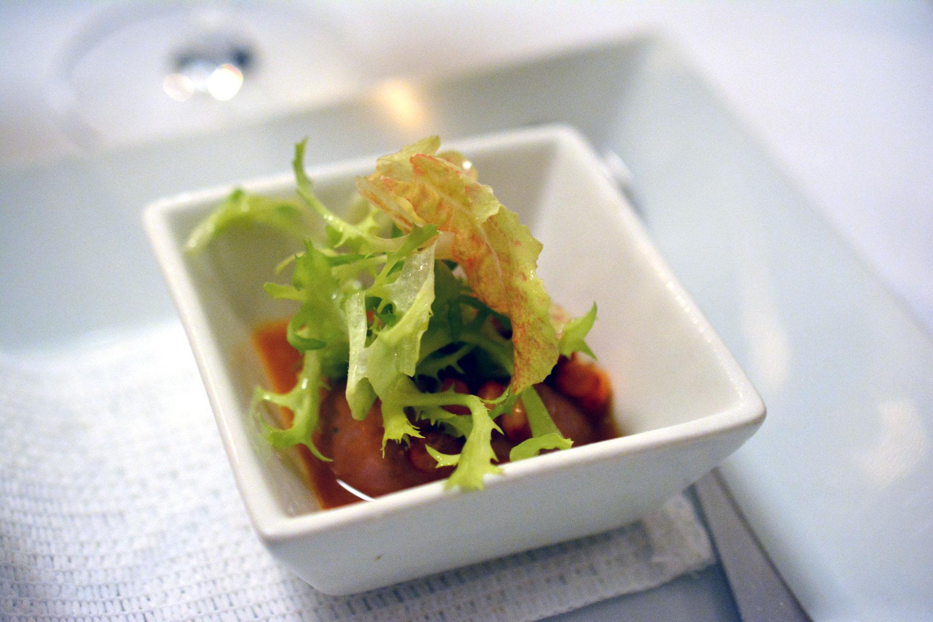 Ganslleber-Mousse mit Sanddorn & kleinem Salat