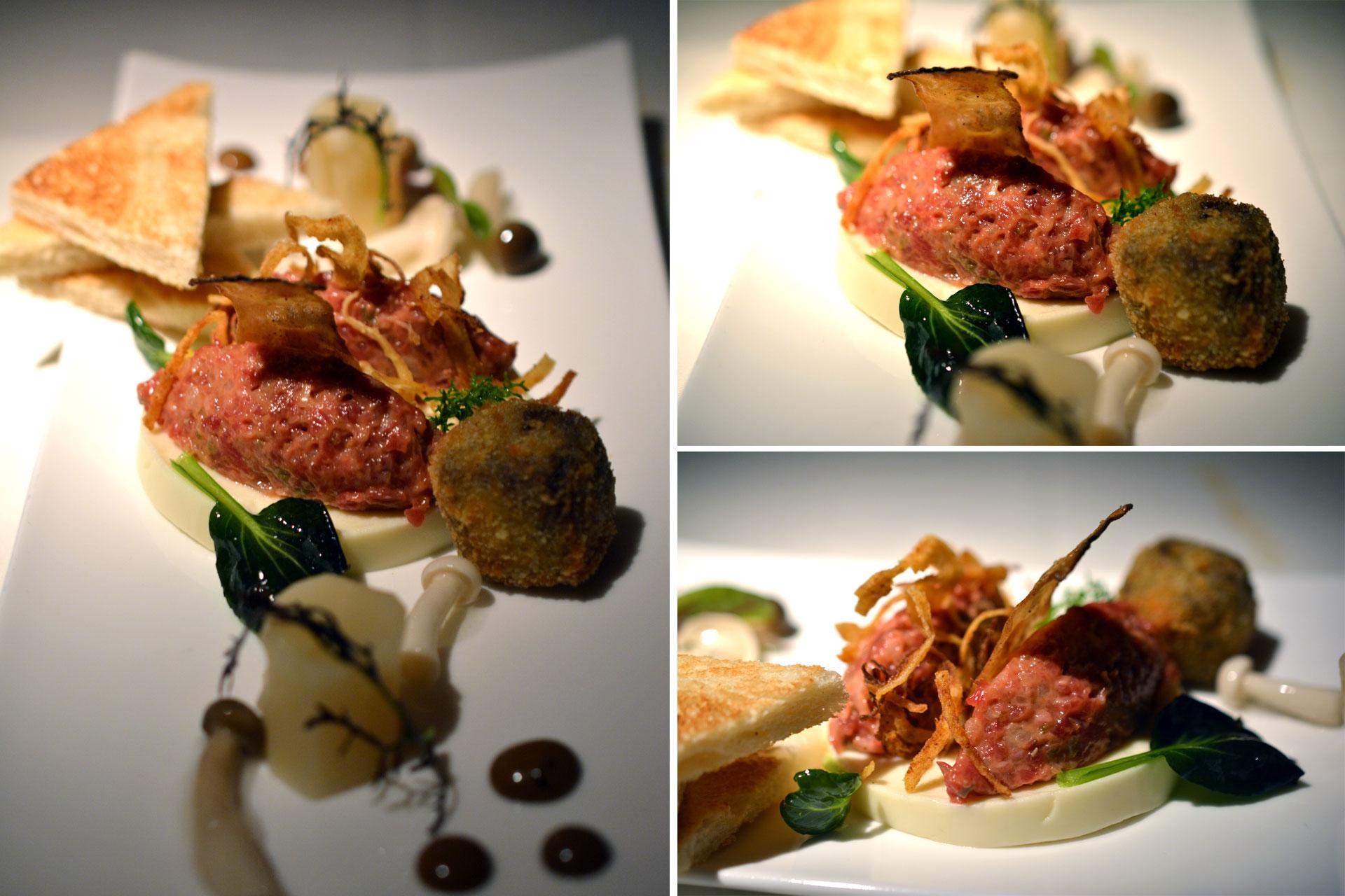 Beef Tartar mit Schwarzwurzel und eingelegten Pilzen