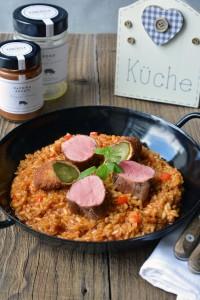 Reisfleisch Deluxe mit Schweinsfilet und gebackenen Salzgurken