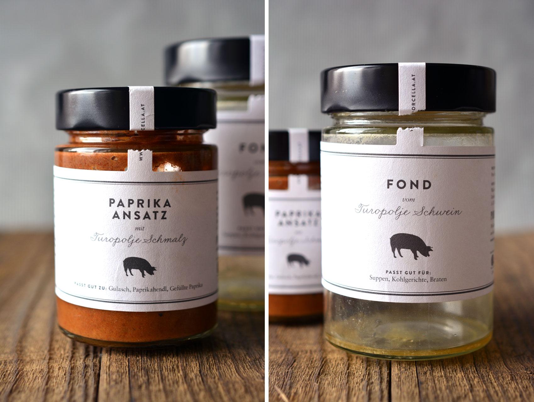Porcella Paprika Ansatz und Fond vom Turopolje Schwein
